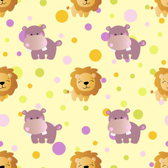 pattern with cartoon cute toy baby behemoth, lion