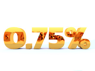 Gold zero point seven five percent or 0.75 % with self reflection isolated over white background. 3D rendering.