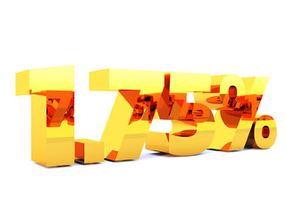 Gold one point seven five percent or 1.75 % with self reflection isolated over white background. 3D rendering.