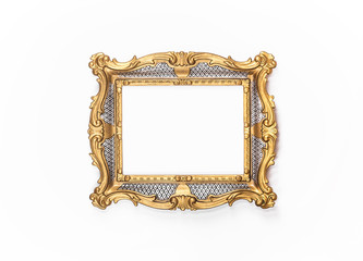 Golden, elegant, vintage frame, baroque, rococo.Clipping paths included.