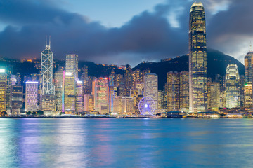 Hong Kong city central business downtown at twilight sea front, cityscape downtown background