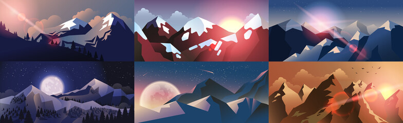 Aluminium Prints Night blue Set background mountain landscape in flat style