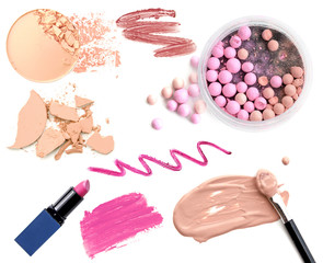 Set of decorative cosmetics on white background
