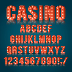 Retro light bulb alphabet letters and numbers for casino sign design. Realist vector illustration