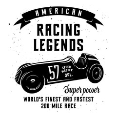 Racing Car t-shirt graphics. Speed Racer Graphic Tee. American car race vintage poster