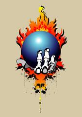 Print костлявая рука скелета держит синий шар на фоне пламени и подтеков