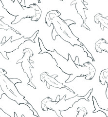 hammerhead shark contour seamless pattern on white background
