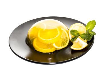 Lemon jelly on dark plate