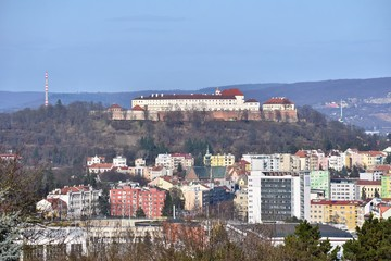 The city of Brno, Czech Republic-Europe. Top view of the city with monuments and roofs. Beautiful old castle - Spilberk