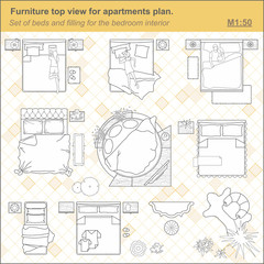 A set of furniture for the bedroom,  top view. The layout of the apartment, technical drawing.  Interior icon for floor plan of the bedroom design. Vector illustration