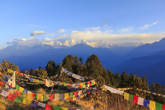 Annapurna and Himalaya mountain range with sunrise view from Poonhill, famous trekking destination in Nepal.