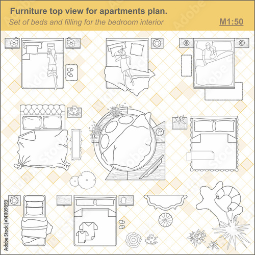 A Set Of Furniture For The Bedroom Top View Layout Apartment