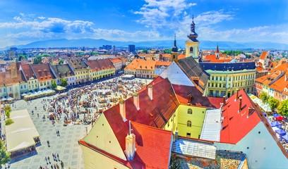 Wall Mural - Aerial view over Sibiu,  Transylvania, Romania