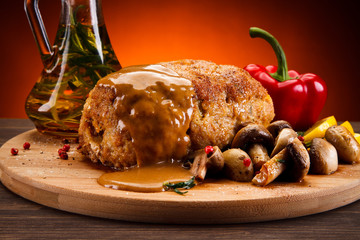 Roast meat with mushrooms