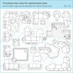 Set of sofas, rugs and accessories for interior living room Furniture top view for apartments plan. Set of sofas, rugs and accessories for interior living room. The layout of the apartment, technical