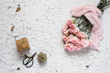 Flowers on white background. Flat lay, top view