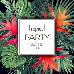 Hawaiian vector floral banner template for summer beach party. Tropical flyer with green exotic plants and red flowers.