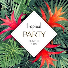Customizable vector floral design template for summer beach party. Tropical flyer with green exotic plants and red flowers.
