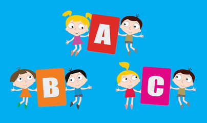 Cartoon children with colored letters in hands.