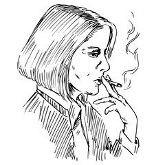 The young woman smoking a cigarette, hand drawn doodle, sketch in pop art style, vector illustration