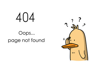 404 Error Page Not Found Website Banner, a confused duck cartoon can't find the internet page.