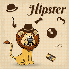 Lion-Hipster With Moustaches