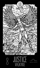 Justice. Valkyrie. Tarot card Major Arcana. See all collection in my portfolio