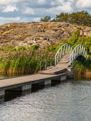 Arched bridge on a rocky island, Karlskrona, Sweden.