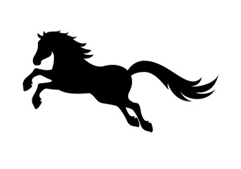 Horse silhouette vector. Black horse on a white background. Illustration of a jumping horse