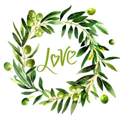 Olive tree wreath in a watercolor style isolated.