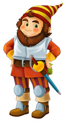 cartoon happy dwarf warrior standing and looking isolated illustration for children