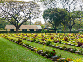 Headstones at Kanchanaburi War Cemetery in Thailand
