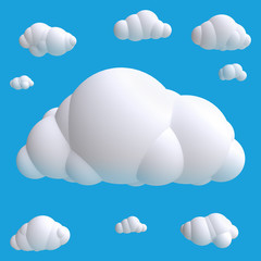 Stylized funny cartoon cloud. Children clay, plastic or soft toy. 3d illustration