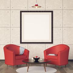Illustration of interior living room