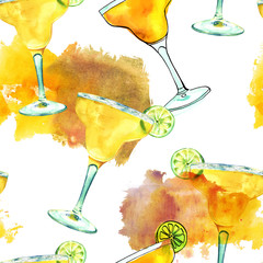 Seamless pattern with watercolour drawings of Margarita cocktail