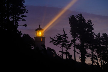 Foto op Canvas Vuurtoren Heceta Head Lighthouse at night, built in 1892