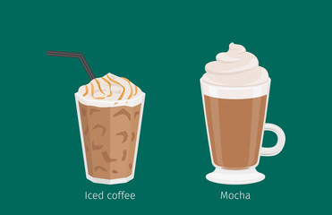 Mocha and Iced Coffee Drinks Cartoon Illustration