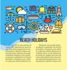 Beach holidays information list vector illustration. Summer attribute icons