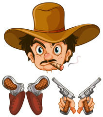 Cowboy head and two pairs of guns