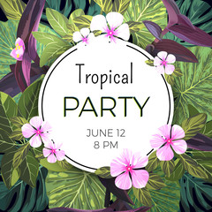 Customizable vector floral design template for summer party. Tropical flyer with pink and purple exotic flowers and green palm leaves.