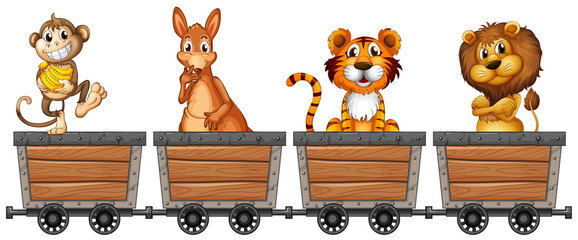 Wild animals in mining carts