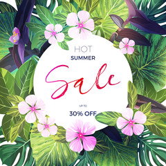 Bright green vector tropical background with pink and purple flowers. Exotic summer sale banner design.