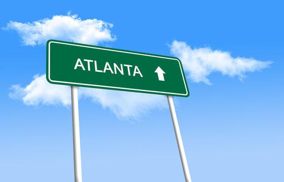 Road sign - Atlanta (3D illustration)