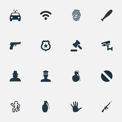 Vector Illustration Set Of Simple Offense Icons. Elements Police Car, Narcotic, Policeman Star And Other Synonyms Handgun, Cctv And Flasher.