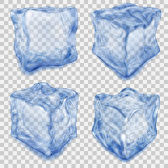 Set of transparent blue ice cube. Transparency only in vector file