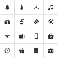 Vector Illustration Set Of Simple  Icons. Elements Fragrance, Business Bag, Ink Pencil And Other Synonyms Present, Photo And Necktie.