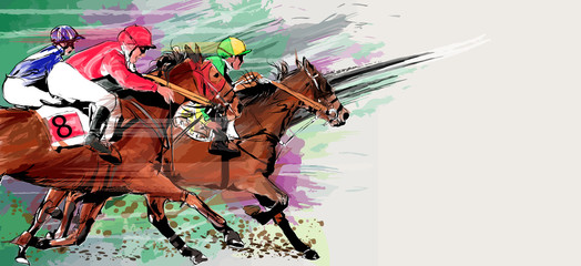 Fotobehang Art Studio Horse racing over grunge background