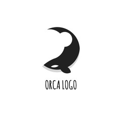 Orca Logo Flat Design with Golden Ratio. Isolated on White Background.