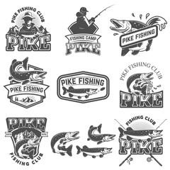 Pike fishing club emblems. Design element for logo, label, badge, sign. Vector illustration.