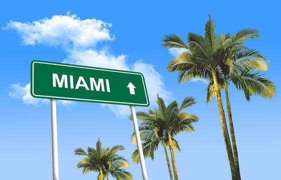 Road sign - Miami (3D illustration)